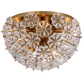 Lynn Flush Mount in Hand-Rubbed Antique Brass with Clear Glass