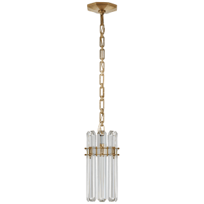 Bonnington Small Pendant in Hand-Rubbed Antique Brass with Crystal