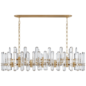 Bonnington Large Linear Chandelier in Hand-Rubbed Antique Brass with Crystal