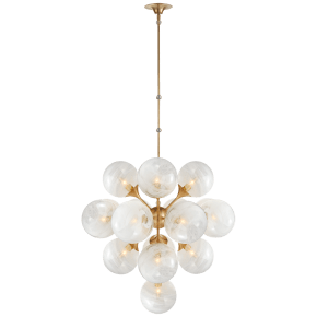 Cristol Large Tiered Chandelier in Hand-Rubbed Antique Brass with White Strie Glass