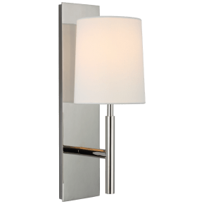 Clarion Medium Sconce in Polished Nickel with Linen Shade