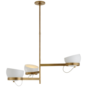 Lightwell Grande Triple Chandelier in Soft Brass with White Shades
