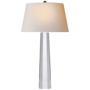 Octagonal Spire Large Table Lamp in Crystal with Natural Paper Shade