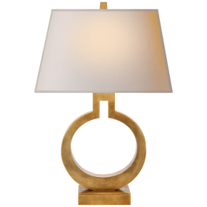 Ring Form Small Table Lamp in Antique-Burnished Brass with Natural Paper Shade