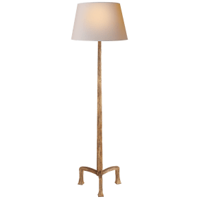 Strie Floor Lamp in Gilded Iron with Natural Paper Shade
