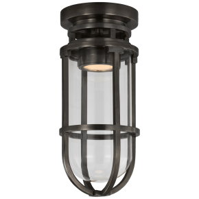 Gracie Tall Flush Mount in Bronze with Clear Glass