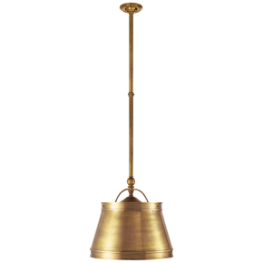 Sloane Single Shop Light in Antique-Burnished Brass with Antique-Burnished Brass Shade