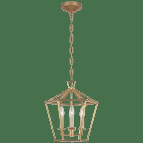 Darlana Small Hexagonal Lantern in Antique-Burnished Brass