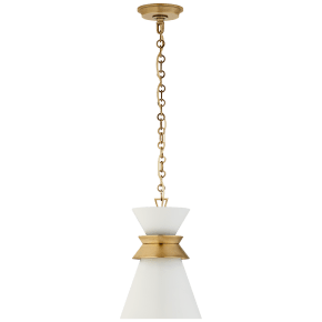 Alborg Small Stacked Pendant in Antique- Burnished Brass with Matte White Shade