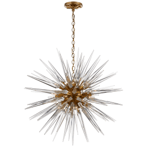 Quincy Medium Sputnik Chandelier in Antique-Burnished Brass with Clear Acrylic