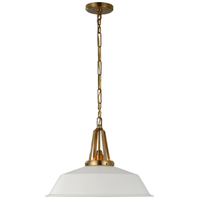 "Layton 20"" Pendant in Antique-Burnished Brass with Matte White Shade"