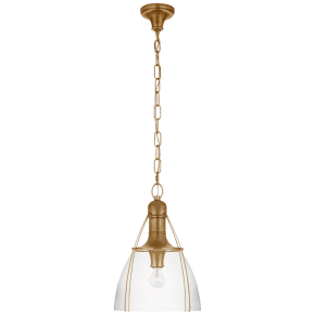 """Prestwick 14"""" Pendant in Antique-Burnished Brass with Clear Glass"""