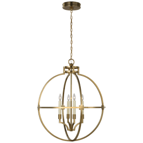 "Lexie 30"" Globe Lantern in Antique-Burnished Brass"