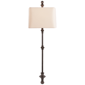 Cawdor Stanchion Wall Light in Aged Iron with Natural Paper Shade