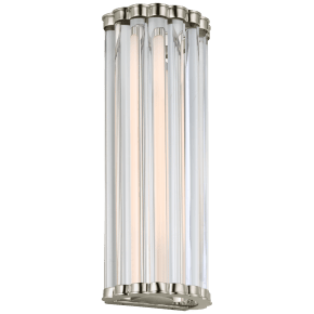 "Kean 14"" Sconce in Polished Nickel with Clear Glass Rods"