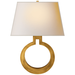 Ring Form Large Wall Sconce in Antique-Burnished Brass with Natural Paper Shade
