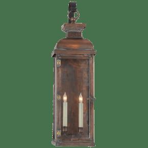 Suffork Tall Scroll Arm Lantern in Natural Copper