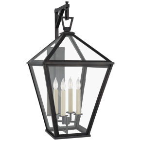 Classic Darlana Large Bracketed Wall Lantern in Bronze with Clear Glass