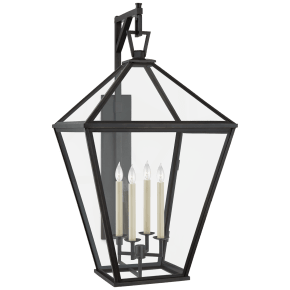 Classic Darlana Grande Bracketed Wall Lantern in Bronze with Clear Glass