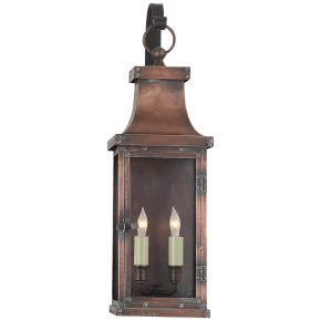 Bedford Medium Scroll Arm Lantern in Natural Copper