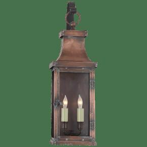 Bedford Medium Scroll Arm Lantern in Natural Copper