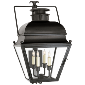 Holborn Small Bracketed Wall Lantern in Aged Iron with Clear Glass