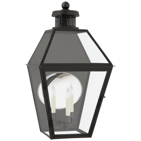 Stratford Medium 3/4 Wall Lantern in Blackened Copper with Clear Glass
