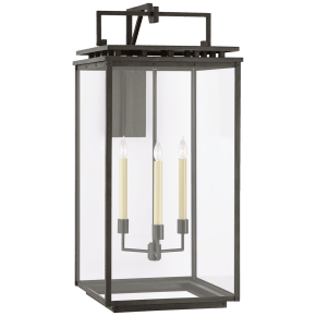 Cheshire Grande Bracketed Wall Lantern in Aged Iron with Clear Glass