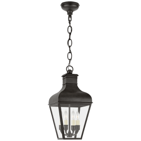 Fremont Small Hanging Lantern in French Rust with Clear Glass