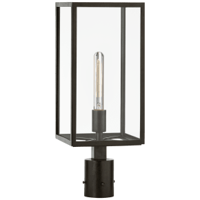Fresno Post Light in Aged Iron with Clear Glass