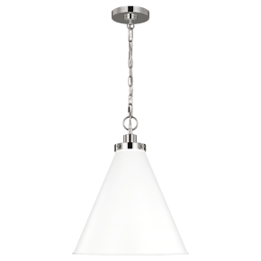 Wellfleet Medium Cone Pendant White Polished Nickel Matte
