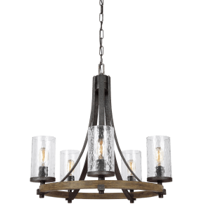 Angelo Small Chandelier Distressed Weathered Oak / Slate Grey Metal