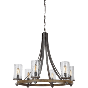 Angelo Medium Chandelier Distressed Weathered Oak / Slate Grey Metal