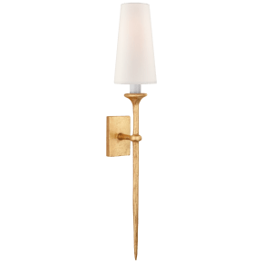 Iberia Single Sconce in Antique Gold Leaf with Linen Shade