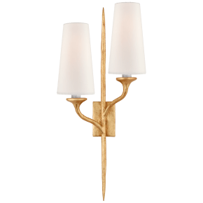 Iberia Double Right Sconce in Antique Gold Leaf with Linen Shades