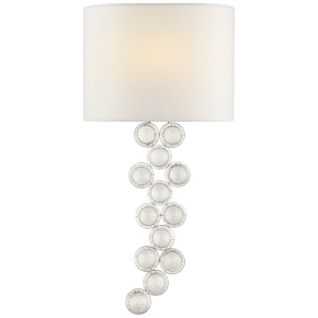 Milazzo Medium Right Sconce in Burnished Silver Leaf and Crystal with Linen Shade