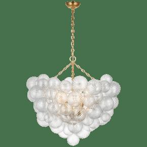 Talia Grande Chandelier in Gild with Clear Swirled Glass