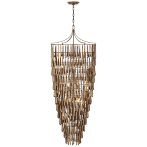 Vacarro Tall Cascading Chandelier in Antique Bronze Leaf