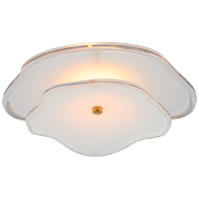 "Leighton 14"" Layered Flush Mount in Soft Brass with Cream Tinted Glass"