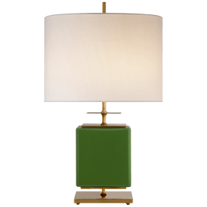 Beekman Small Table Lamp in Green Reverse Painted Glass with Cream Linen Shade