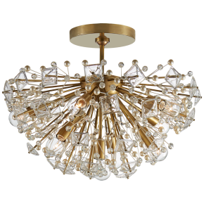Dickinson Medium Semi-Flush in Soft Brass with Clear Glass and Cream Pearls