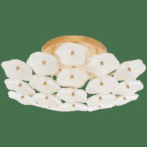 Leighton Medium Flush Mount in Soft Brass with Cream Tinted Glass