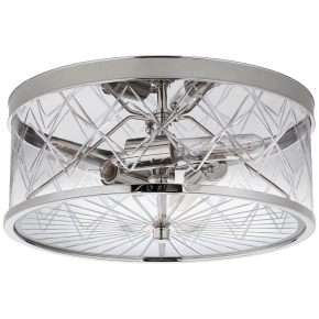 Darcy Medium Flush Mount in Polished Nickel with Crystal