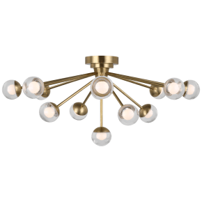 "Alloway 30"" Flush Mount in Soft Brass with Clear Glass"