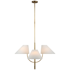 Kinsley Large One-Tier Chandelier in Soft Brass with Linen Shades
