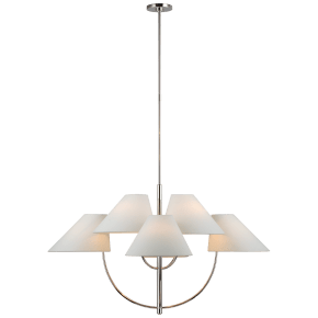 Kinsley Large Two-Tier Chandelier in Polished Nickel with Linen Shades