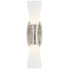 Utopia Small Double Bath Sconce in Polished Nickel with White Glass