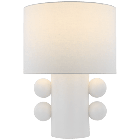 Tiglia Low Table Lamp in Plaster White with Linen Shade
