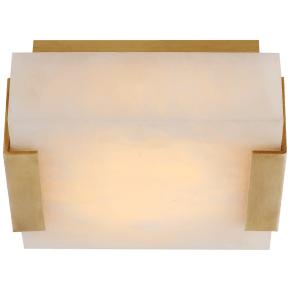 Covet Low Clip Solitaire Flush Mount in Antique-Burnished Brass with Alabaster