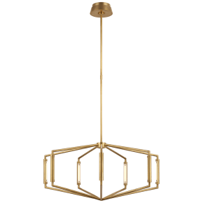 """Appareil 30"""" Low Profile Chandelier in Antique-Burnished Brass"""